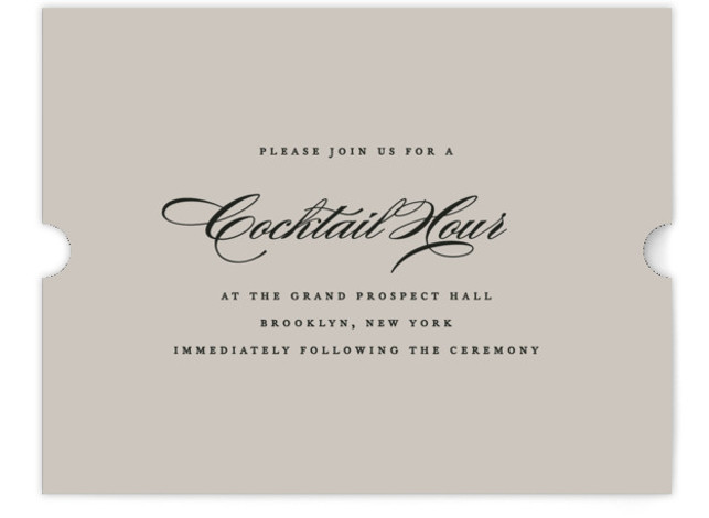 This is a landscape bold and typographic, classic and formal, grey, gold Reception Cards by Jennifer Postorino called Flourish with Standard printing on Signature in Card Flat Card format. A simple offset design that lets the lovely couples names be ...