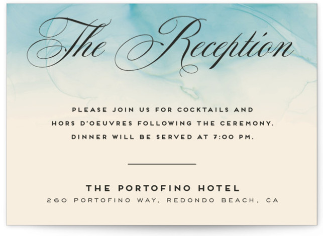 This is a modern, painterly, blue Reception Cards by GeekInk Design called Ombio with Standard printing on Signature in Card Flat Card format. This wedding invite features a hand painted watery background.