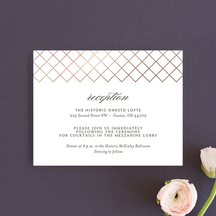 """Elegantly Lined"" - Reception Cards in Petal by Robin Ott."