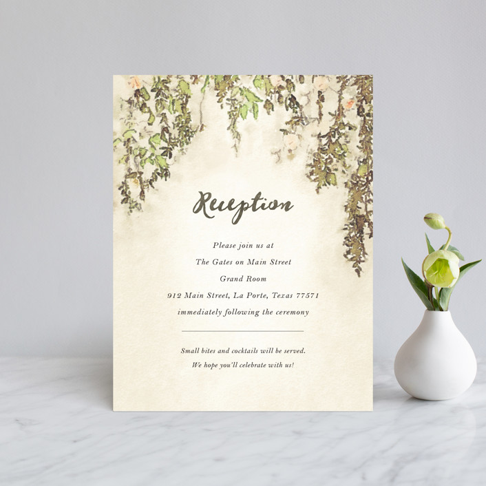 """English Countryside"" - Simple, Rustic Reception Cards in Moss by Design Lotus."