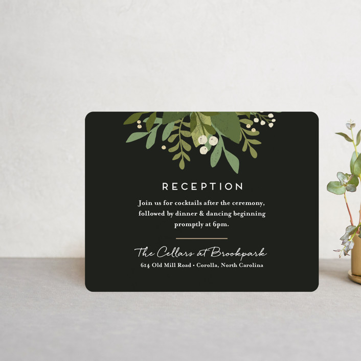 """""""Laurel of Greens"""" - Reception Cards in Midnight by Jennifer Wick."""