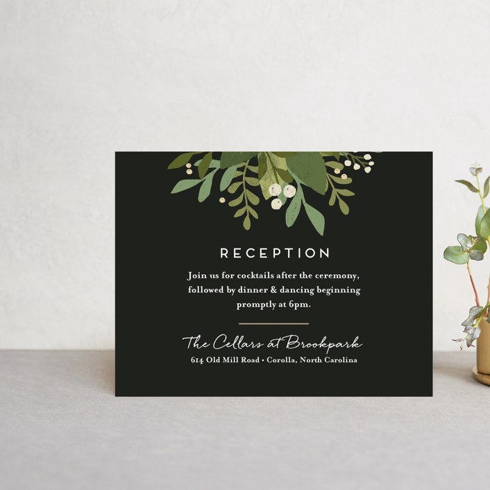 """Laurel of Greens"" - Reception Cards in Midnight by Jennifer Wick."