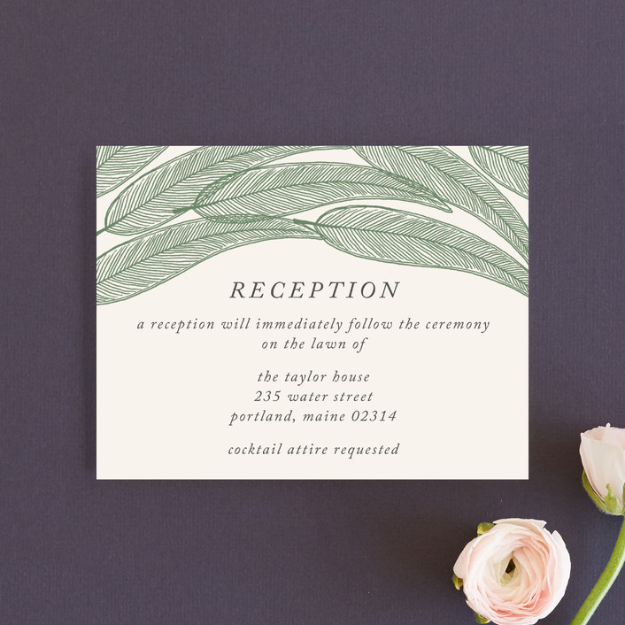 """Sketched Leaves"" - Reception Cards in Pine by Katharine Watson."