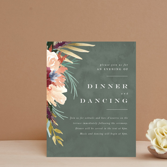 """rustic florals"" - Reception Cards in Garden by Kate Ahn."