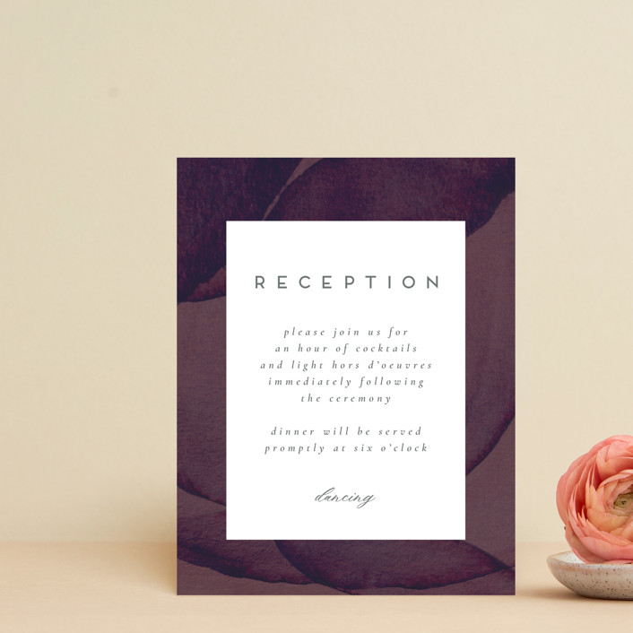 """Petalis"" - Reception Cards in Velvet by Christie Garcia."