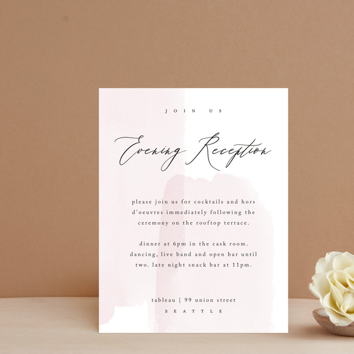 """""""Painterly"""" - Reception Cards in Blush by Kelly Schmidt."""