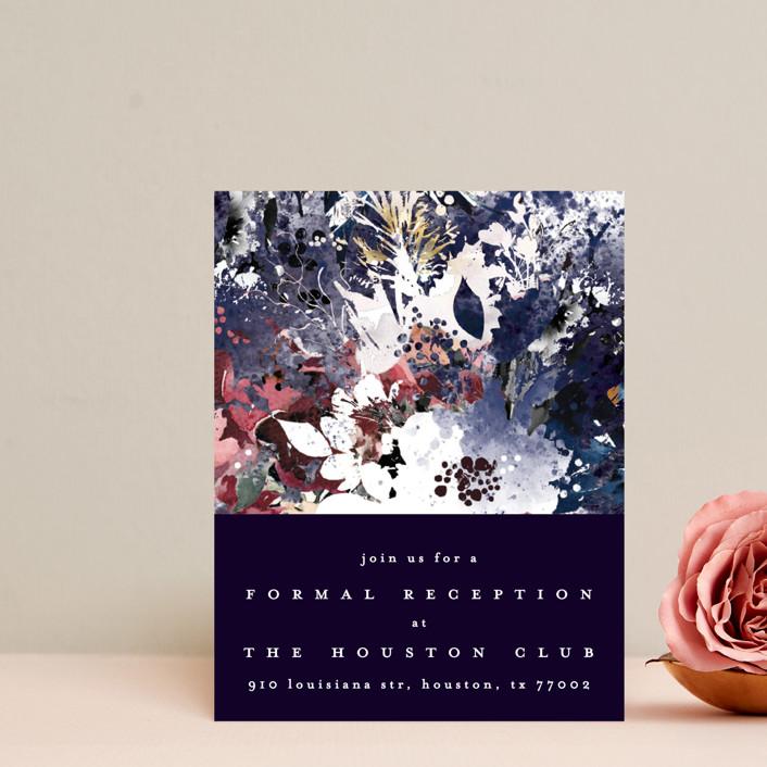 """Floral Cascade"" - Reception Cards in Navy by Phrosne Ras."