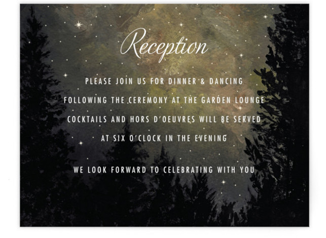 This is a landscape illustrative, painterly, grey, yellow Reception Cards by Elly called Starry, Starry Night with Standard printing on Signature in Card Flat Card format. A painted landscape scene with a night sky full of stars for a joyful ...
