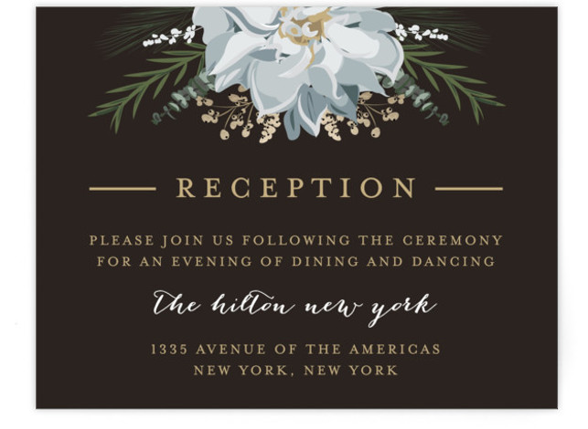 This is a landscape botanical, brown, grey Reception Cards by Susan Moyal called Peonies & Berries with Standard printing on Signature in Card Flat Card format. This classic wedding invitation feature berries, sprigs and blossoms