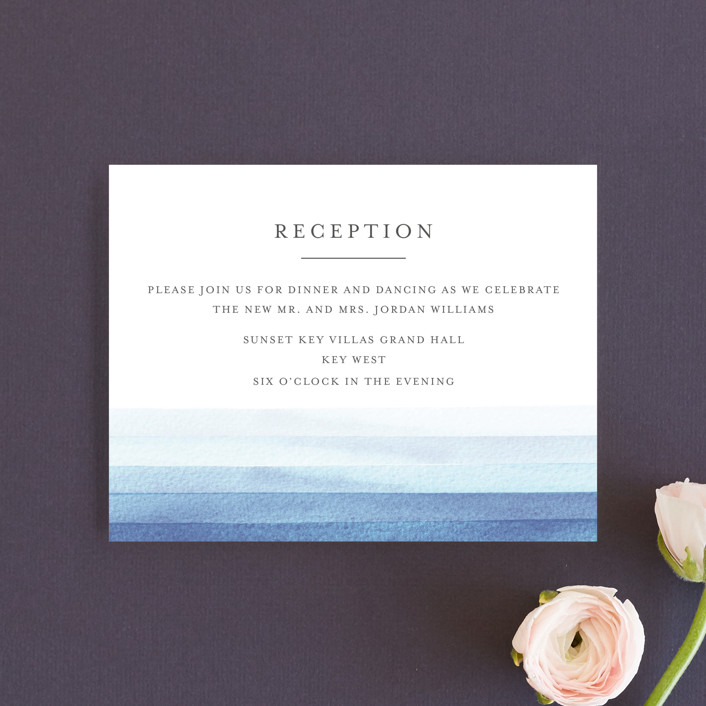 """""""Watercolour Stripe"""" - Reception Cards in Azure by Bethan."""