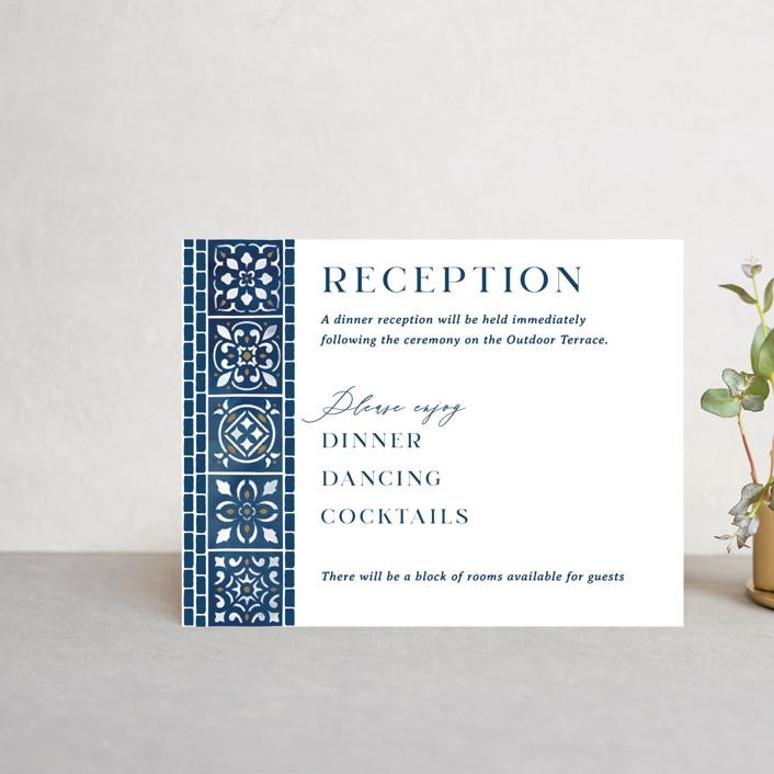 """Mediterranean Tiles"" - Reception Cards in Ocean by GeekInk Design."