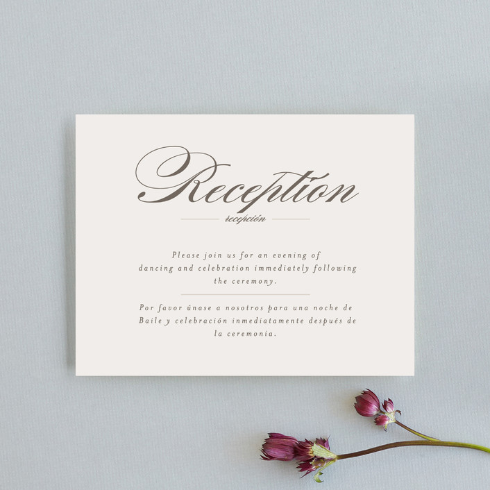 """Love Language"" - Reception Cards in Warm Slate by Pistols."