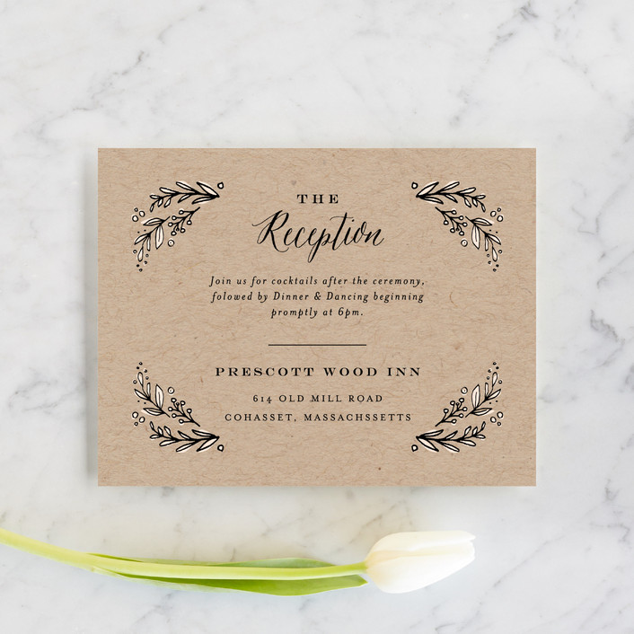 """Painted Wreath"" - Rustic Reception Cards in Kraft by Jennifer Wick."