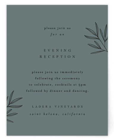 This is a botanical, classic and formal, grey Reception Cards by Kelly Schmidt called Italia with Standard printing on Signature in Card Flat Card format. A modern, refined design featuring a botanical illustration