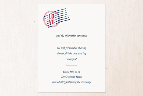 Come Away With Me Reception Cards