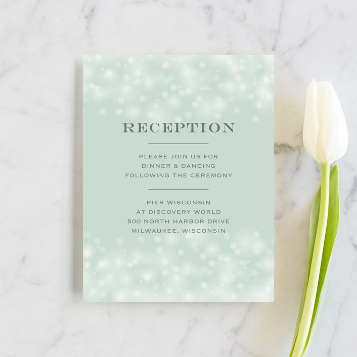"""Twinkling Lights"" - Reception Cards in Seagreen by Erin Deegan."