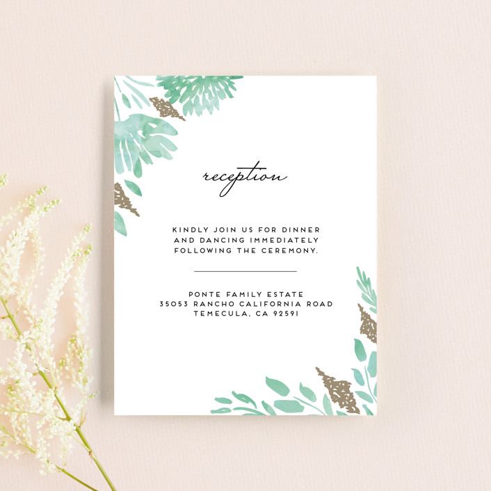 """""""Watercolor Delight"""" - Floral & Botanical Reception Cards in Aqua by Petra Kern."""