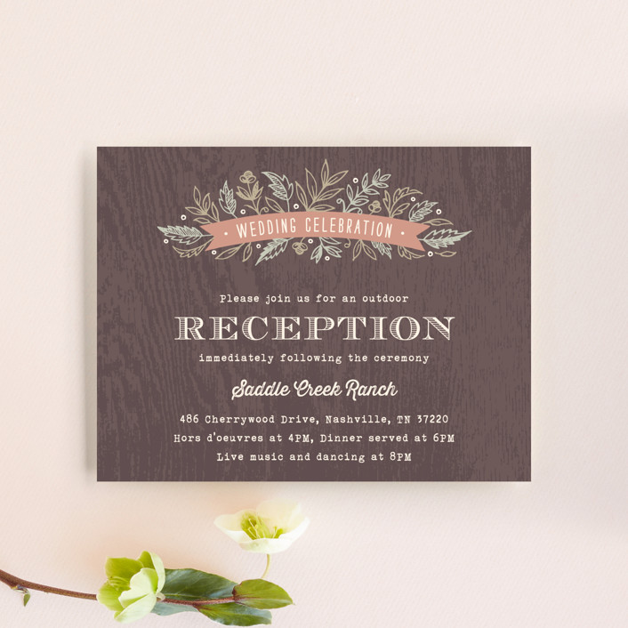 """""""Woodland Romance"""" - Rustic, Floral & Botanical Reception Cards in Walnut by Hooray Creative."""
