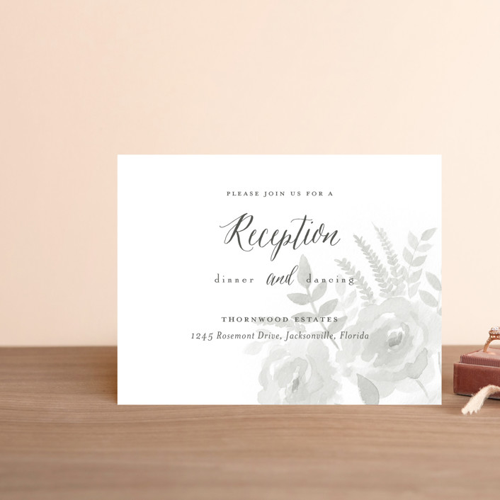 """""""Watercolor Floral"""" - Reception Cards in Fog by Jill Means."""