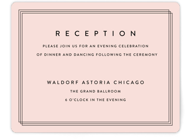 This is a landscape classic and formal, simple and minimalist, pink Reception Cards by Stacey Meacham called Elegantly Framed with Standard printing on Signature in Card Flat Card format. This elegant wedding invitation pairs modern, yet classic typography with a ...