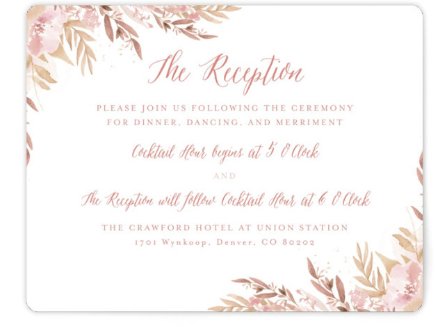 This is a landscape botanical, painterly, pink, beige, gold Reception Cards by Grace Kreinbrink called Big Blooms with Standard printing on Signature in Card Flat Card format. Giant, vivid hand painted watercolor blooms frame this wedding invitation.
