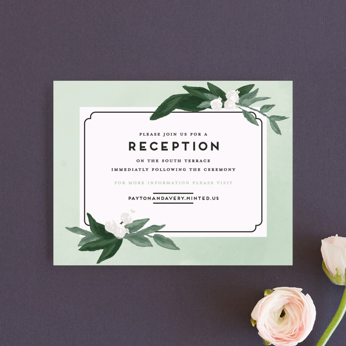 """""""Botanical Name Plate"""" - Reception Cards in Sage by Shiny Penny Studio."""