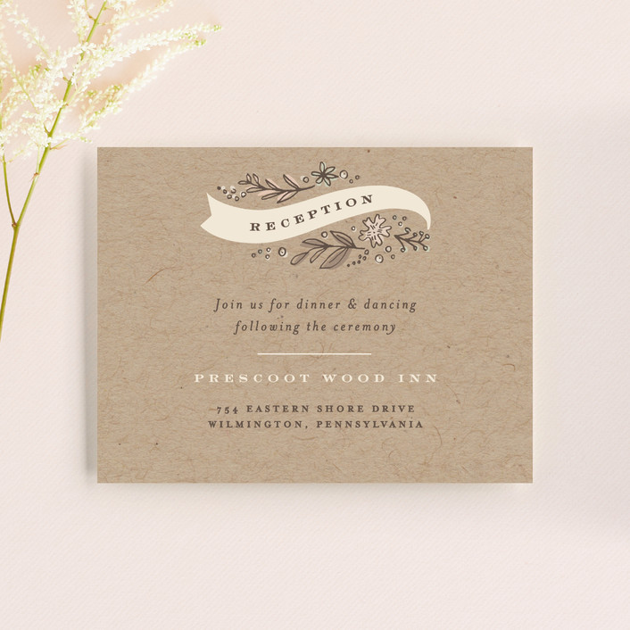 """Rustic Banner"" - Rustic Reception Cards in Kraft by Jennifer Wick."