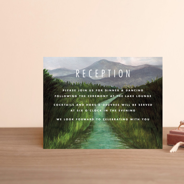 """Adventure Begins"" - Rustic Reception Cards in Forest by Elly."