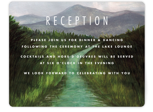 This is a landscape illustrative, painterly, rustic, green Reception Cards by Elly called Adventure Begins with Standard printing on Signature in Card Flat Card format. A painted watercolour landscape for a contemporary announcement.