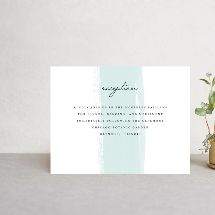 """Single Swath"" - Reception Cards in Blush by Angela Marzuki."