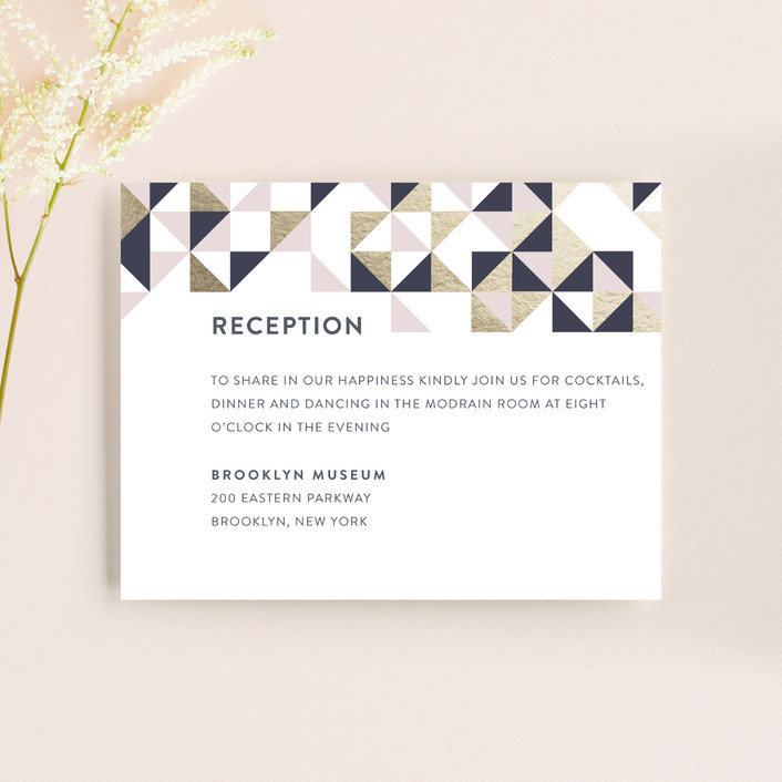 """""""Lovely Geo"""" - Reception Cards in Midnight by Ana Sharpe."""
