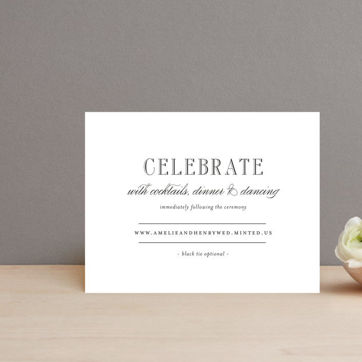 """Hepburn"" - Elegant, Classical Reception Cards in Tuxedo by Toast & Laurel."