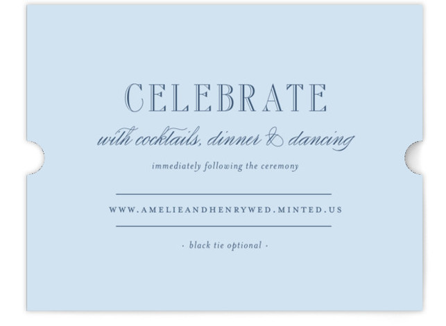 This is a landscape bold and typographical, preppy, blue Reception Cards by Toast & Laurel called Hepburn with Standard printing on Signature in Card Flat Card format. A timeless & elegant save the date to set the tone for your ...