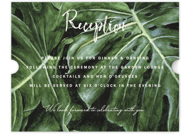 This is a white, green Reception Cards by Elly called Paradise with Standard printing on Signature in Card Flat Card format. A tropical palm tree leaves painted with watercolour for a fun and contemporary wedding invitation design