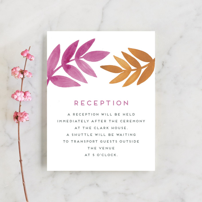 """Bright Leaves"" - Reception Cards in Fuschia by Katharine Watson."