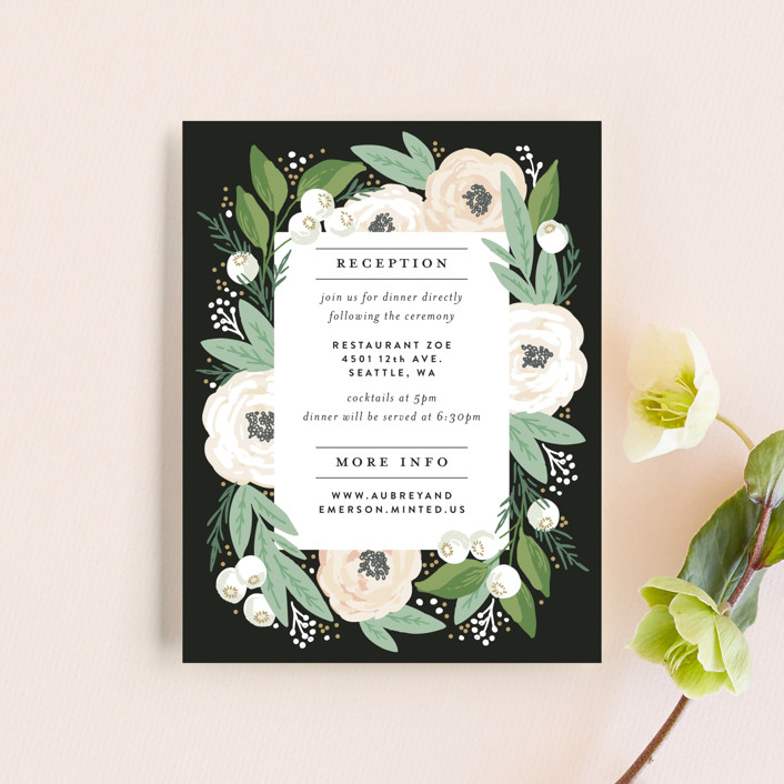 """""""Blooming Bouquet"""" - Reception Cards in Charcoal by Alethea and Ruth."""