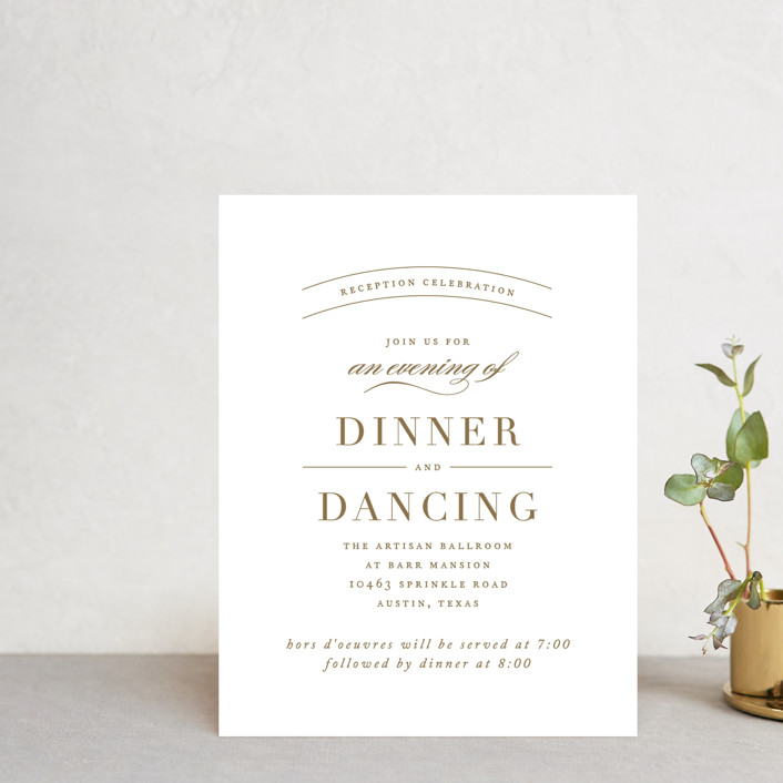 """divine"" - Reception Cards in Gilded Gold by Jennifer Postorino."