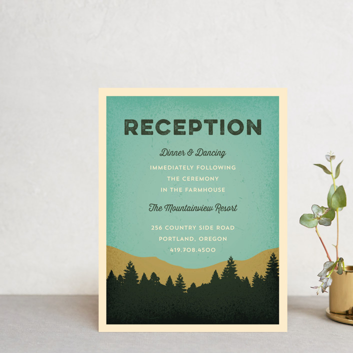 """Mountain View"" - Reception Cards in Forest by Coco and Ellie Design."
