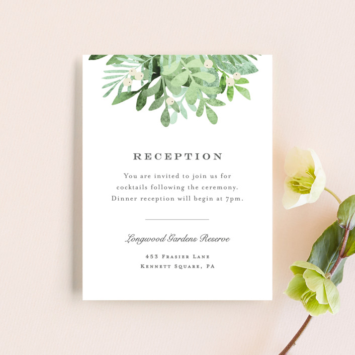 """Leafy ampersand"" - Reception Cards in Mint Leaf by Jennifer Wick."