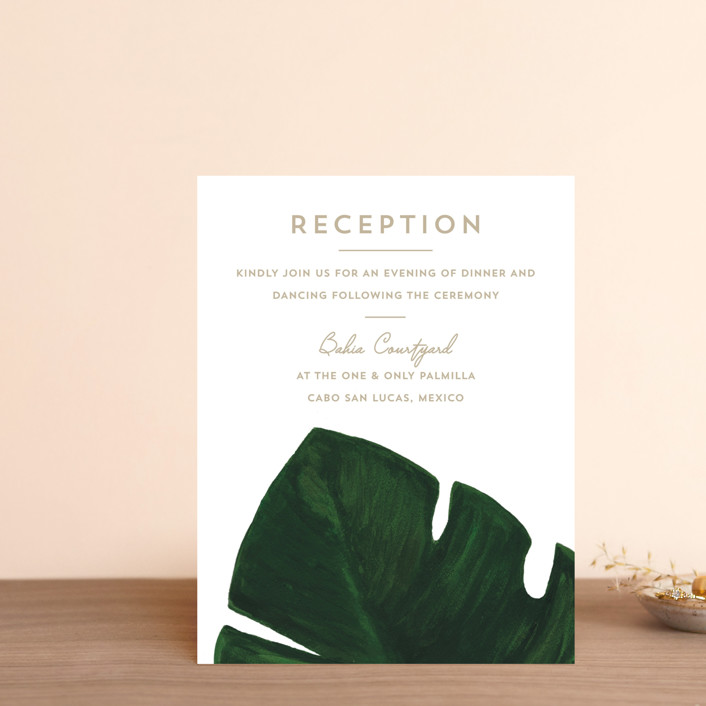 """Palm"" - Reception Cards in Classic Palm by Kaydi Bishop."