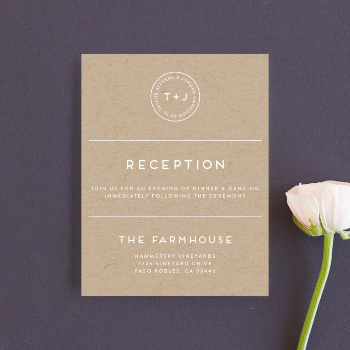 """Modern Stamp"" - Reception Cards in Kraft by seulghi."