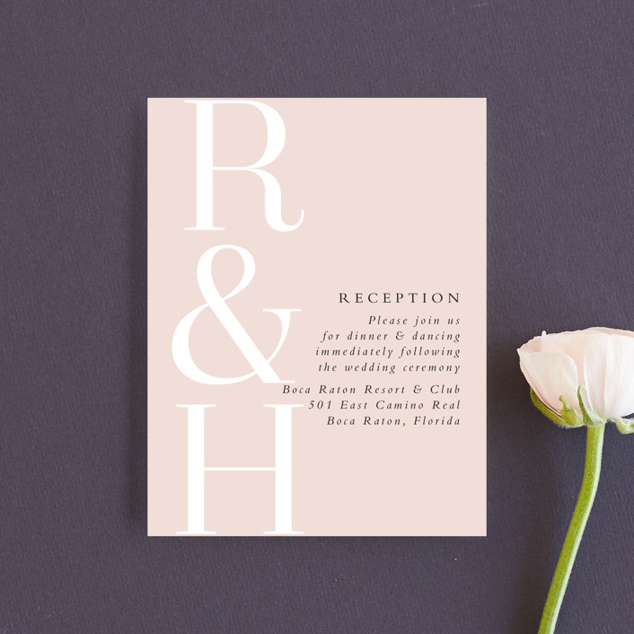 """over and over"" - Reception Cards in Soft Peach by Lea Delaveris."