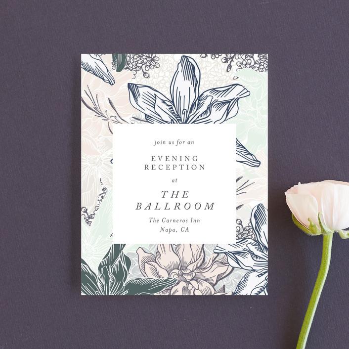 """hand drawn garden"" - Reception Cards in Navy by Phrosne Ras."