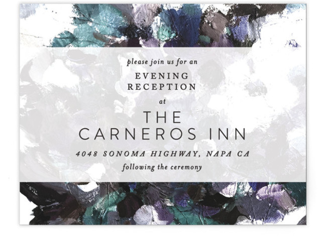 This is a purple, grey, green Reception Cards by Phrosne Ras called Gardener's Palette with Standard printing on Signature in Card Flat Card format. A painted canvas creates the theme for this design.
