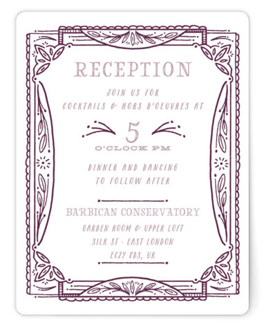 This is a purple Reception Cards by Shiny Penny Studio called Ink Detailing Frame with Standard printing on Signature in Card Flat Card format. This wedding invitation is a detailed frame of whimsical hand drawn foliage, lines, and geometric pieces. ...