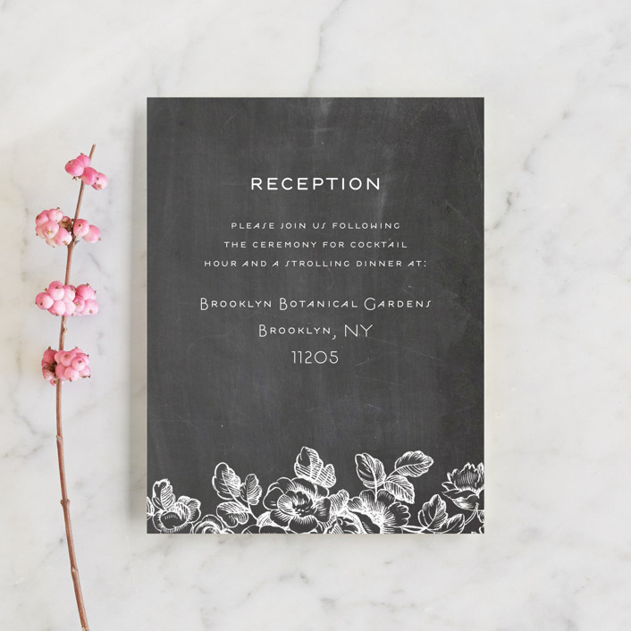 """""""Chalkboard Flora"""" - Reception Cards in Chalkboard by Snow and Ivy."""