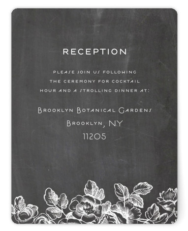 This is a grey, black Reception Cards by Snow and Ivy called Chalkboard Flora with Standard printing on Signature in Card Flat Card format. Chalkboard background with white florals illustration and classic typography make this wedding invitation fun and fresh. ...
