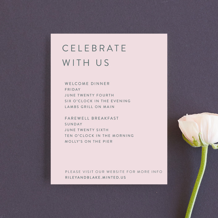 """""""Minimal Modern"""" - Reception Cards in Cotton Candy by Mere Paper."""
