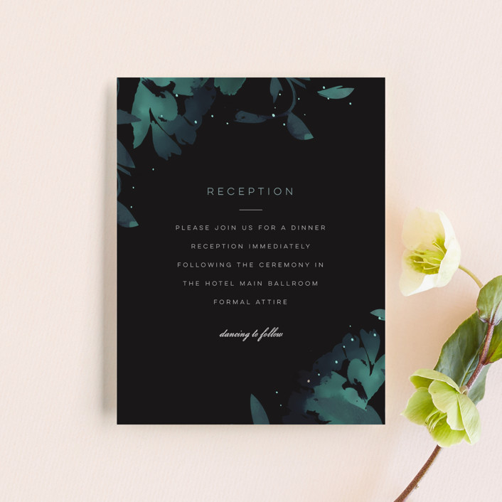 """Midnight Garden"" - Reception Cards in Midnight by Lori Wemple."