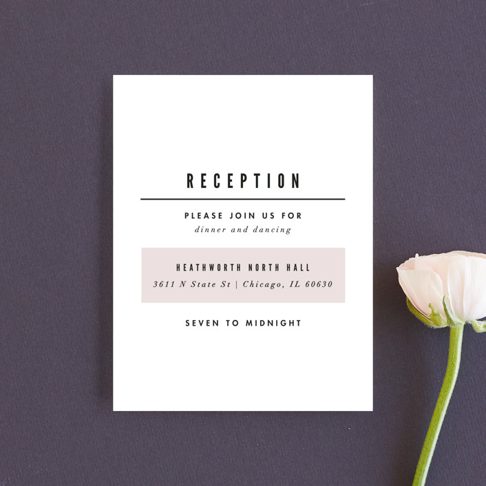 """""""Initialed"""" - Reception Cards in Blush by Pistols."""